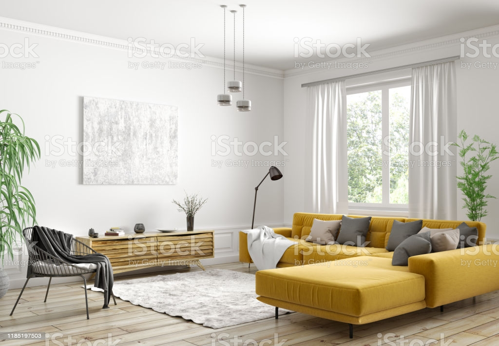 Modern interior design of Scandinavian apartment, living room with yellow sofa, sideboard and black armchair 3d rendering
